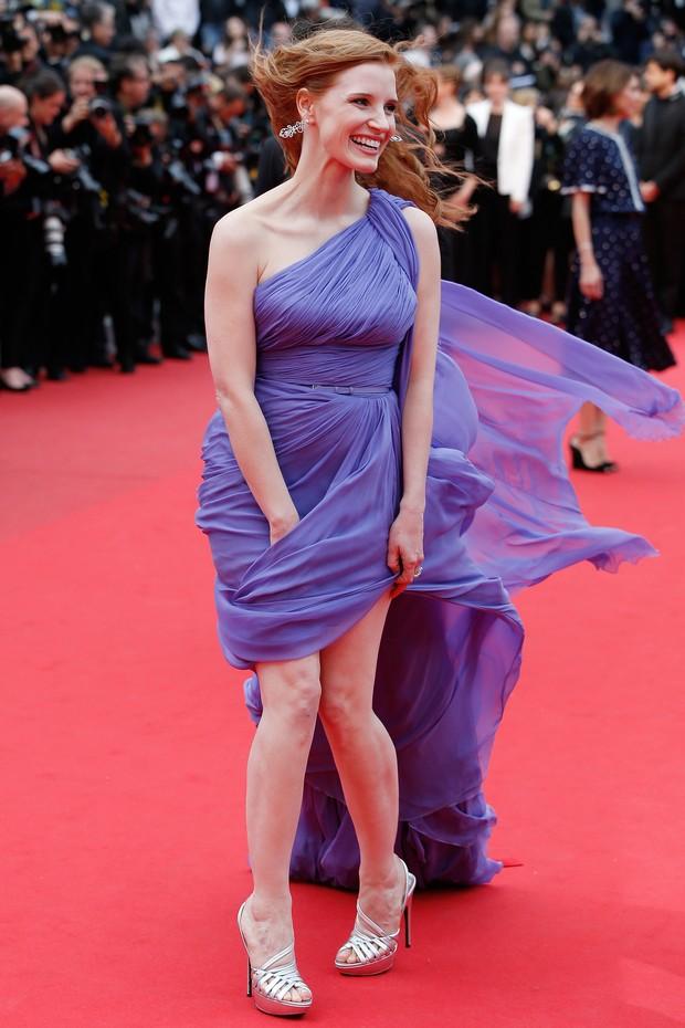 Jessica Chastain na première do filme Foxcatcher, no Festival de Cannes (Foto: AFP)