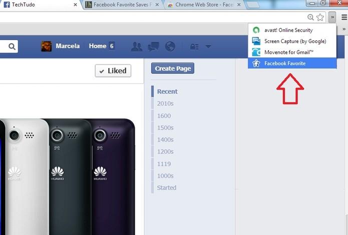 Ícone de acesso à extensão Facebook Favorite no navegador (Foto: Reprodução/ Marcela Vaz)