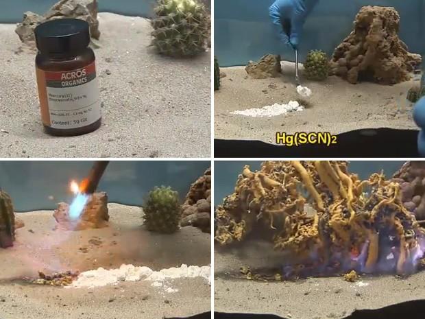 """""""Monstro"""" surge pouco depois que o composto entra em contato com o fogo. (Foto: Reprodução)"""