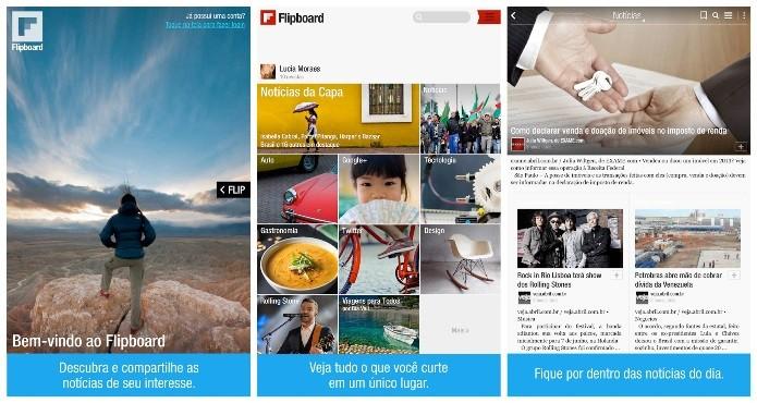 O Flipboard permite acompanhar as atualizações de outras redes sociais (Foto: Divulgação)