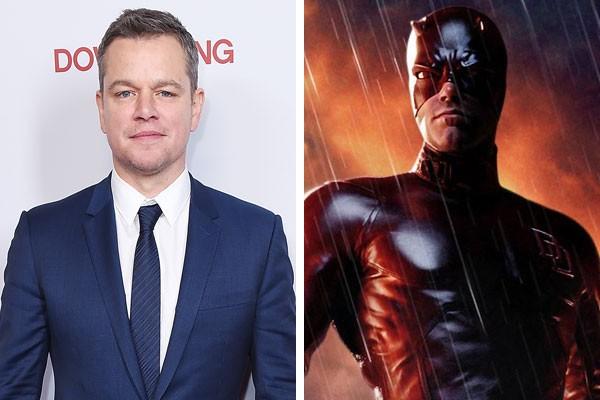 O ator Matt Damon e o Demolidor de Ben Affleck (Foto: Getty Images/Reprodução)