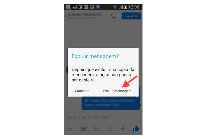 Excluindo uma mensagem do Facebook Messenger para Android definitivamente (Foto: Reprodução/Marvin Costa)