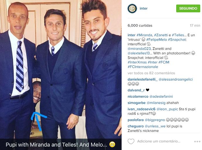 BLOG: Photobomb inusitado: Felipe Melo vira intruso em foto com brasileiros e Zanetti