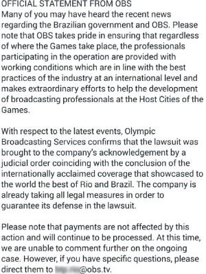 OBS divulga comunicado para funcionários que trabalharam na Rio 2016 (Foto: Reprodução/ Internet)