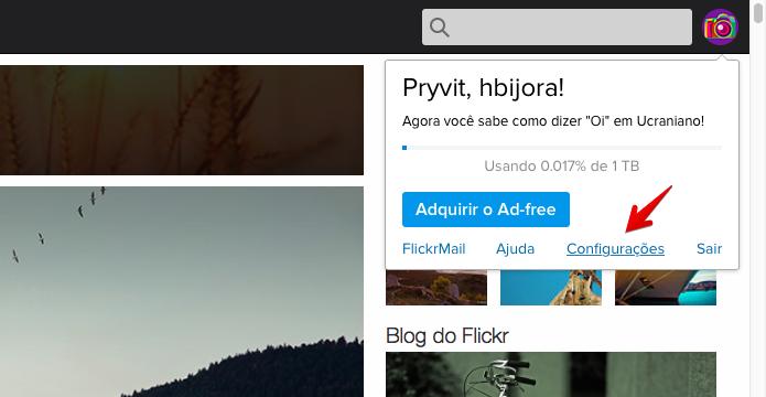 Acesse as configurações do Flickr (Foto: Reprodução/Helito Bijora)