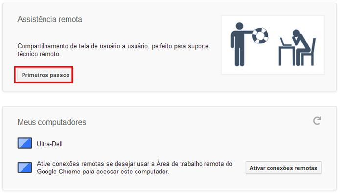 Se ainda não tiver usado a assistência remota, clique em Primeiros passos (Foto: Reprodução/Paulo Alves)