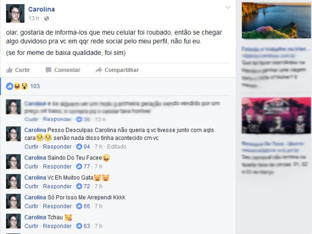 """No Facebook, o ladrão também """"se desculpou"""" e disse que a jovem era bonita (Foto: Facebook/ Reprodução)"""