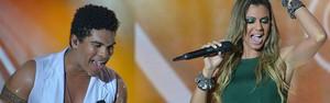 Com Ne-Yo na plateia, Denny canta com namorada do Cheiro de Amor (Foto: Erik Salles / Ag. Foto Edgar de Souza)