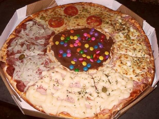 Pizza com recheio de chocolate com confeitos (Foto: Ricardo dos Santos/Arquivo Pessoal)