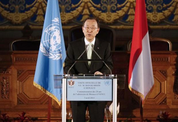 O secretário-geral da ONU, Ban Ki-moon, em evento que antecedeu em Mônaco nesta quarta-feira (Foto: Valery Hache/AFP)
