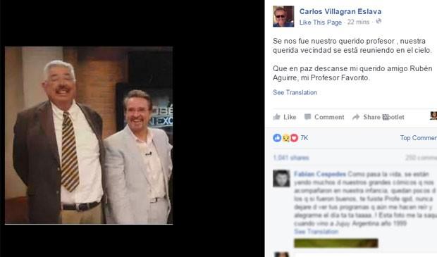 Carlos Villagran Eslava, no Facebook (Foto: Reprodução / Facebook)