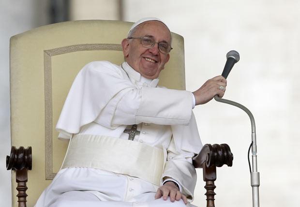 O Papa Francisco durante audiência nesta quarta-feira (3) no Vaticano (Foto: AP)