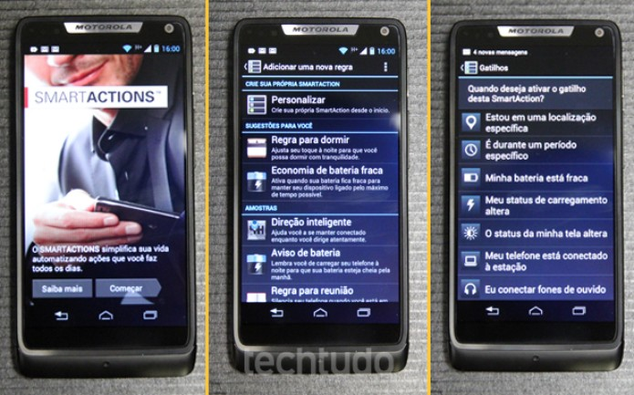 SmartActions no Motorola Razr i (Foto: Allan Melo / TechTudo)