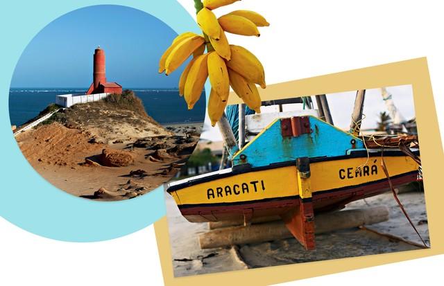 O Farol de Fortim na foz do rio Jaguaribe; à esquerda, jangada de pescador (Foto: Francio de Holanda e Divulgação)