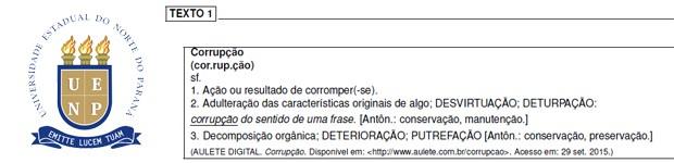 Trecho da prova de redação da UENP (Foto: Reprodução)
