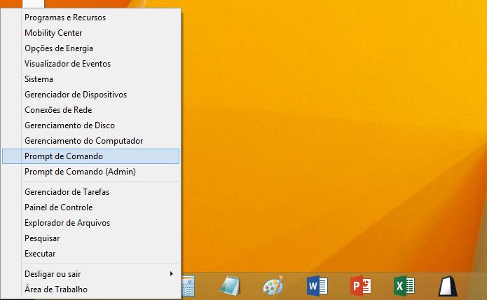Abrindo promt de comandos no Windows 8 (Foto: Reprodução/Helito Bijora)