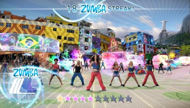 'Zumba Fitness World Party' tem fase ambientada no Rio de Janeiro; o jogo usa passos de samba, capoeira e funk para fazer o jogador se mexer (Foto: Divulgação/Zoe Mode)