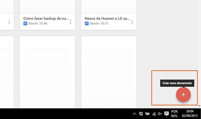 Crie um novo documento no Google Docs pelo Chrome (Foto: Reprodução/Barbara Mannara)