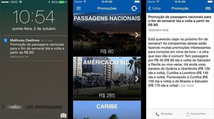 Descubra as promoções de passagens aéreas com o Melhores Destinos (Foto: Divulgação/AppStore)