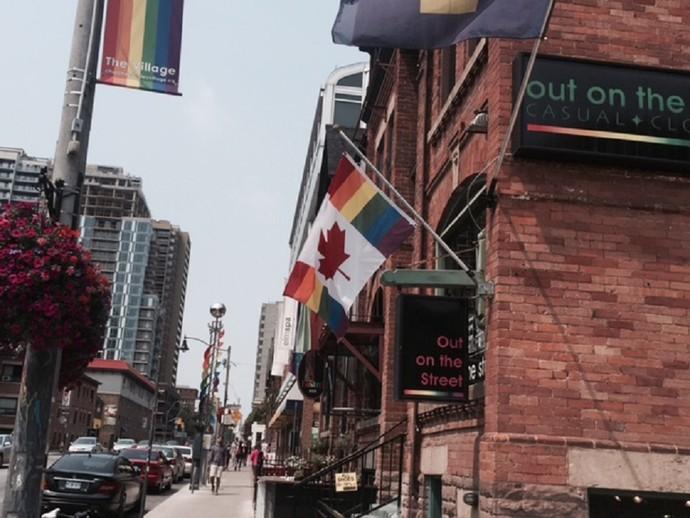 Bandeira do Canadá adaptada (Foto: Amanda Kestelman)