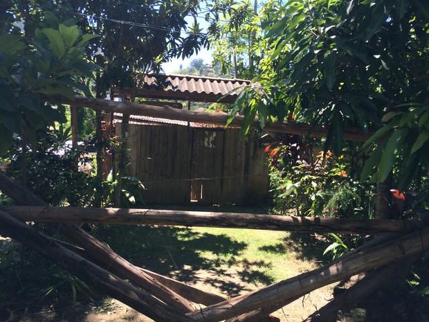 Família usou toras de madeira para impedir que maquinário entre no imóvel (Foto: Bruno Rodrigues/G1)