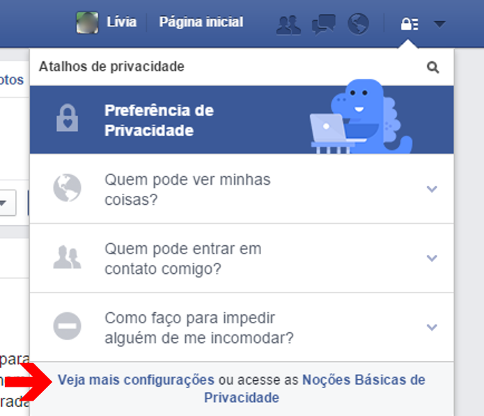 Acessando as configurações de privacidade do Facebook (Foto: Reprodução/Lívia Dâmaso)