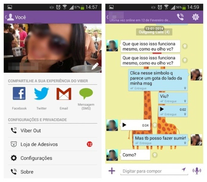 No Viber, a troca de mensagens não custa nada (Foto: Reprodução/Lívia Dâmaso)