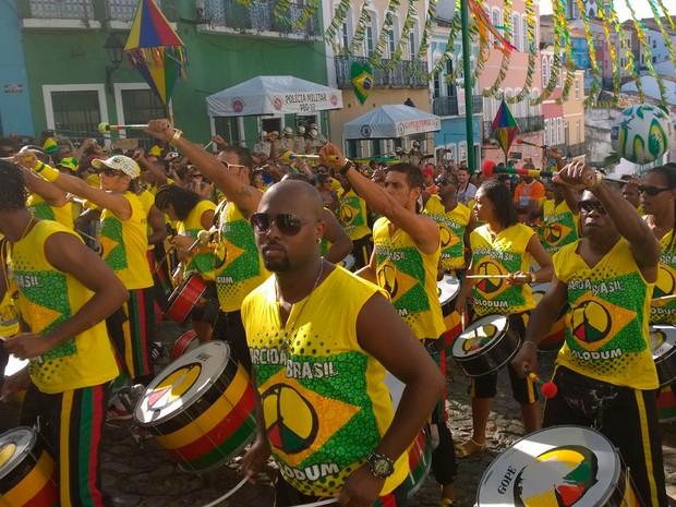 Olodum prepara festa no Pelourinho em jogo do Brasil (Foto: Yuri Girardi/G1)