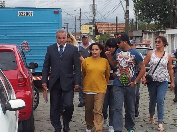 Reconstituição do caso Jaciene em São Vicente, SP (Foto: Mariane Rossi/G1)