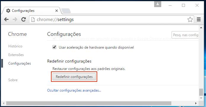 Iniciando a redefinição das configurações do Chrome (Foto: Reprodução/Edivaldo Brito)