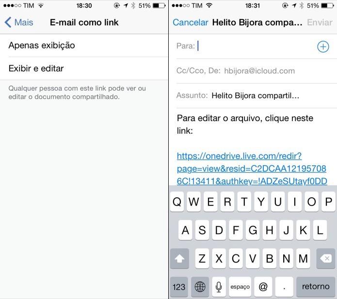 Compartilhando link para documento do Word por e-mail (Foto: Reprodução/Helito Bijora)