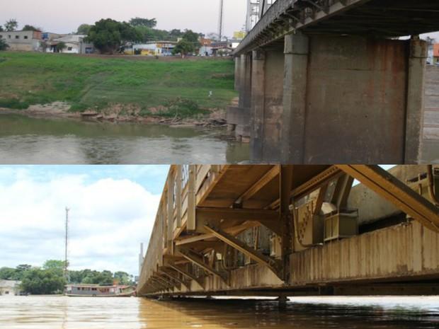Ponte Metálica durante a enchente de 2016 e atualmente no período da seca histórica (Foto: Aline Nascimento/G1 e João Paulo Maia/GloboEsporte.com)