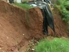 Cratera aumenta após chuvas e faz rua de Jundiaí quase desaparecer