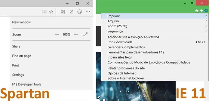 Spartan apresenta um menu mais limpo que o do Internet Explorer (Foto: Reprodução/Elson de Souza)