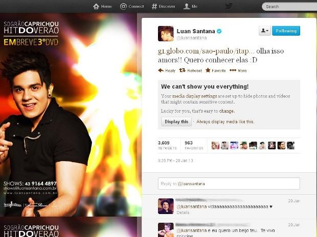 Cantor postou mensagem no Twitter dizendo que quer conhecer fã (Foto: Reprodução / Internet)