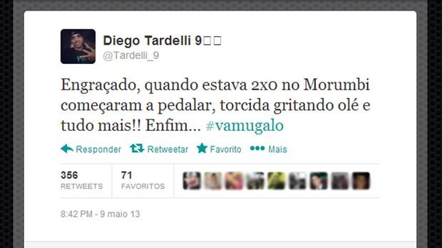 Diego Tardelli twitter jogo São Paulo (Foto: Reprodução / Twitter)