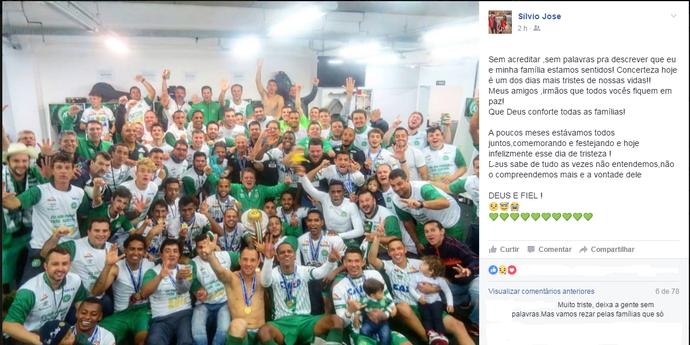 Desabafo do atacante rondoniense Silvinho que jogou no Chapecoense início de 2016 (Foto: Divulgação facebook )