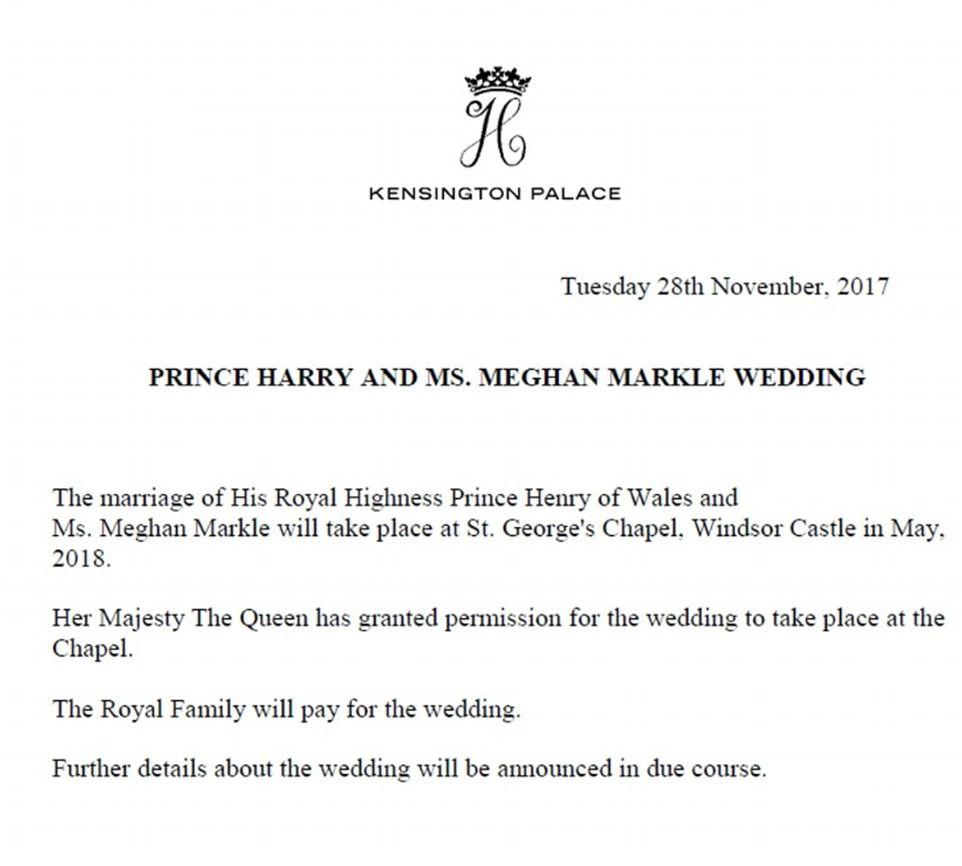 Comunicado oficial revela detalhes do casamento de Meghan Markle com o príncipe Harry (Foto: Reprodução)