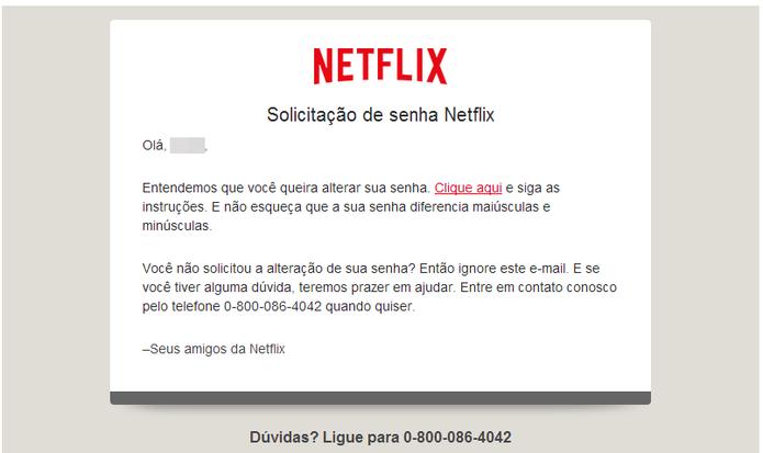 O Netflix enviará uma mensagem de redefinição de senha para seu e-mail (Foto: Reprodução/Paulo Finotti)