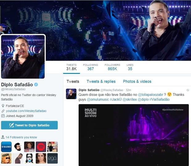Wesley Safadão troca nome no twitter para Diplo Safadão (Foto: Instagram / Reprodução)