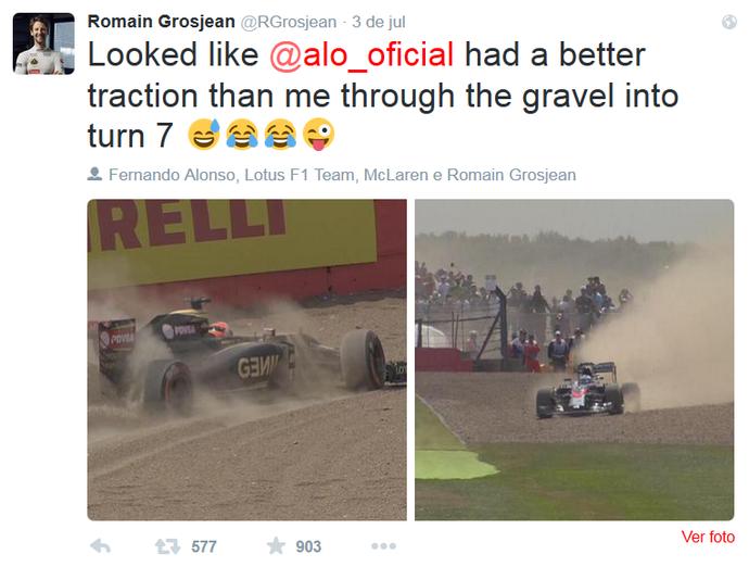 Romain Grosjean brinca com Fernando Alonso no twitter (Foto: Reprodução/Twitter)