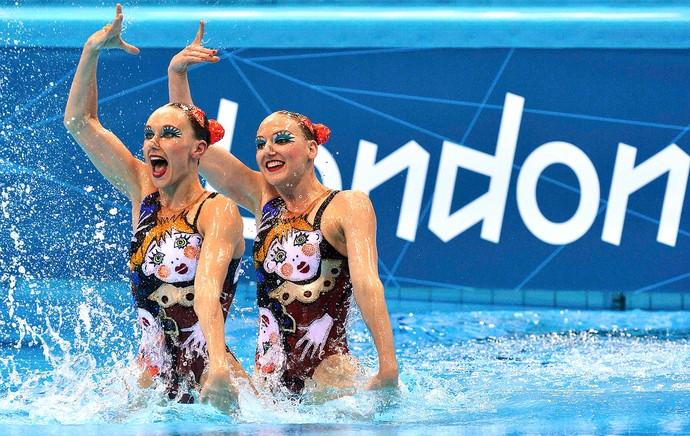 Natalia Ishchenko e Svetlana Romashina no nado sincronizado da Rússia (Foto: Reuters)
