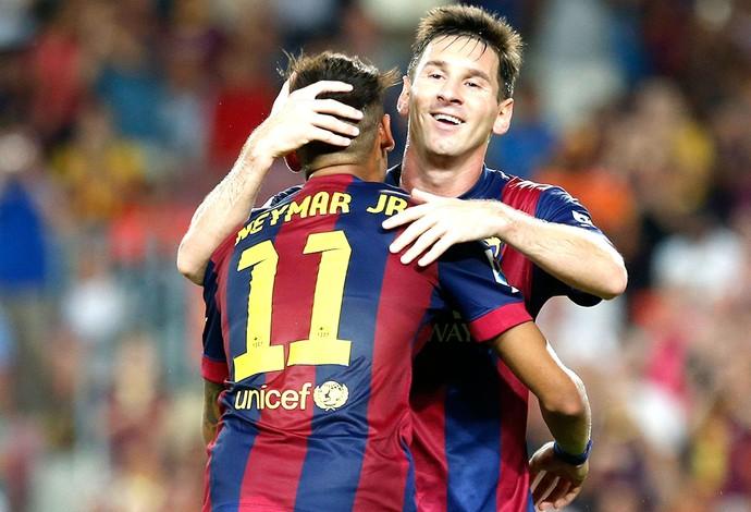Neymar comemora gol do Barcelona contra o Leon (Foto: Agência Reuters)