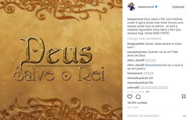 Tatá Werneck lamenta incêndio em galpão de Deus Salve o Rei (Foto: Reprodução/Instagram)