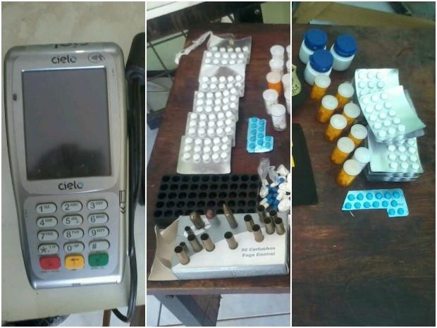 PRF apreendeu comprimidos, drogas, balança de precisão e máquina de cartão de crédito (Foto: PRF/Divulgação)