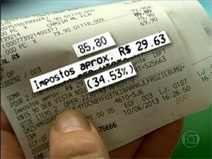 Lojas já começaram a detalhar os impostos de produtos na nota fiscal (Foto: Reprodução/ TV Globo)