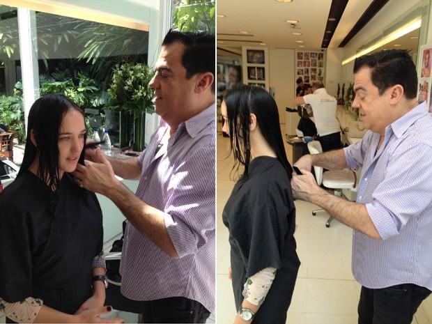 Marco Antônio de Biaggi trata dos cabelos da beldade (Foto: Divulgação)