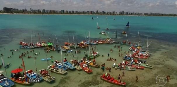 Hora 1 mostra as piscinas naturais de Pajuçara  (Foto: Reprodução/ TV Globo)