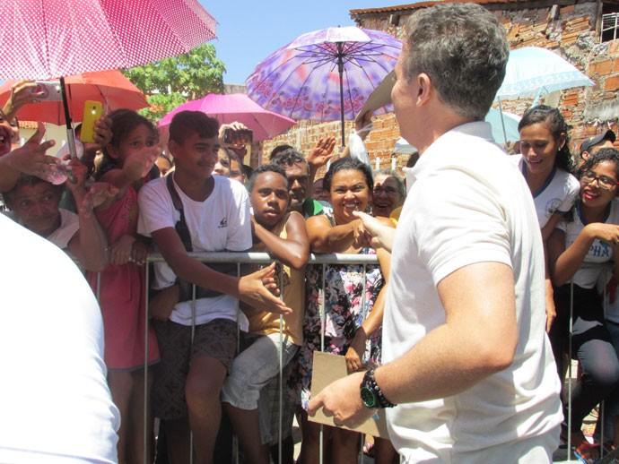 O apresentador foi recebido de forma carinhosa pelos piauienses (Foto: Laurivânia Fernandes/Gshow)