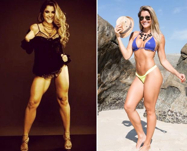 À esquerda, Letícia na época em que trabalhava para ter mais músculos e à direita em uma fase menos musculosa (Foto: Arquivo pessoal e Felipe Monteiro/TV Globo)